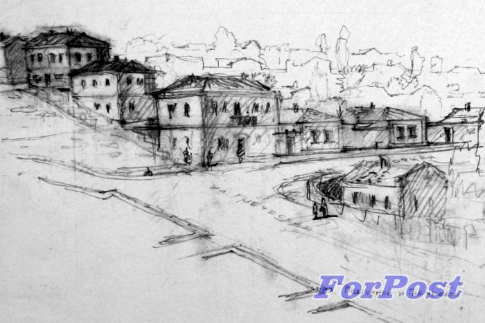 Угол улиц Подгорной и Греческой в 1941 году. Реконструкция. Рис. В.К. Цаккера.