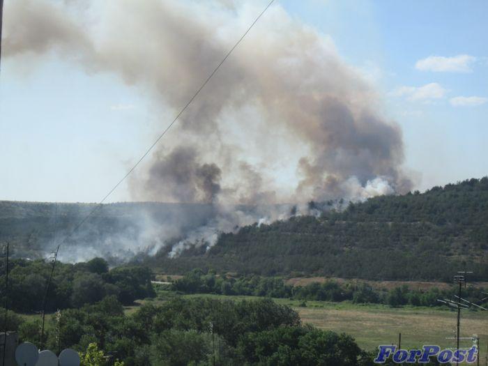 Возле севастопольского аэродрома загорелся лес