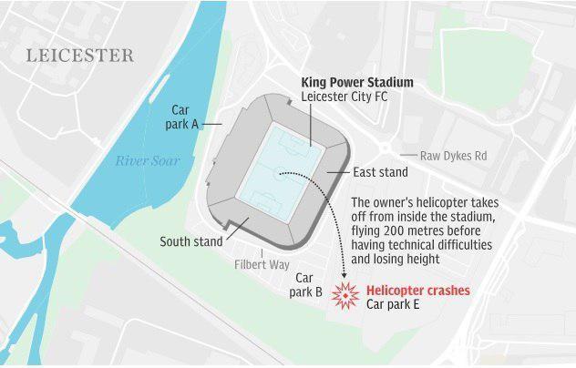 """СМИ: владелец ФК """"Лестер"""" находился на борту разбившегося у стадиона вертолета"""