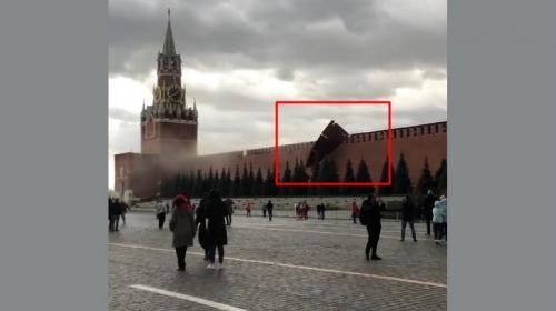 ForPost- Ураганный ветер разрушил Кремлёвскую стену, сорвав с неё зубец. Видео