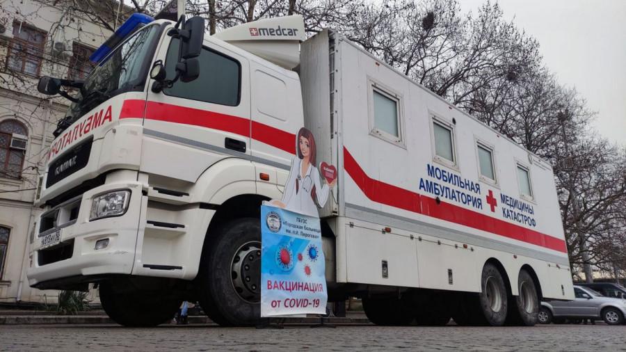 ForPost - Новости : Мобильный пункт вакцинации от коронавируса развёрнут на площади Нахимова