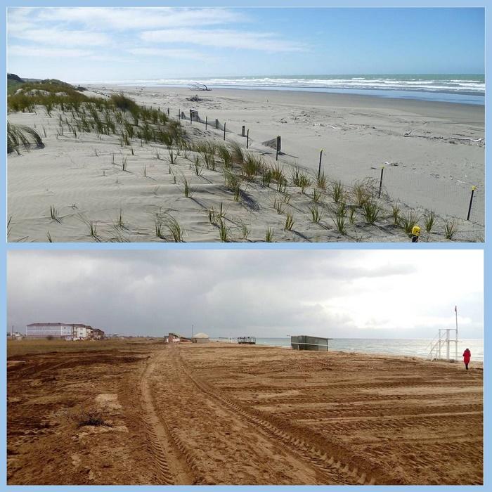 Сверху – искусственное восстановление песчаных дюн в Новой Зеландии. Снизу – благоустройство пляжа по-крымски