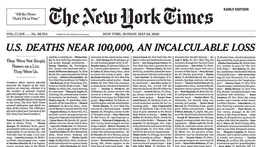 NYT опубликовала на первой полосе имена жертв коронавируса в США